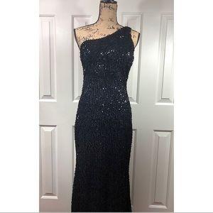 Daisy Women's One Shoulder Black Sequin Maxi Dress